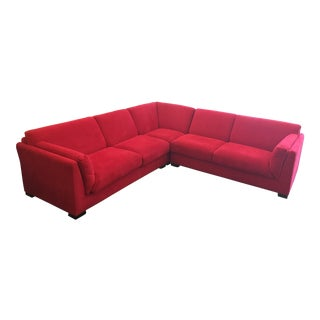Contemporary Red Suede Sectional