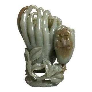 Large Chinese Carved Celadon Jade Double Buddha Hand Vase