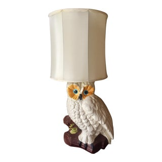 White Ceramic Owl Lamp
