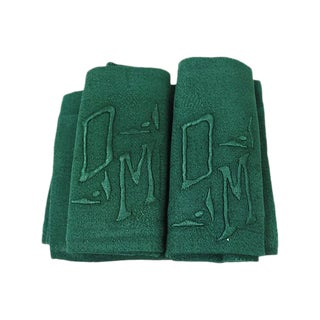 "Art Deco French Linen ""DM"" Monogram Napkins - S/8"