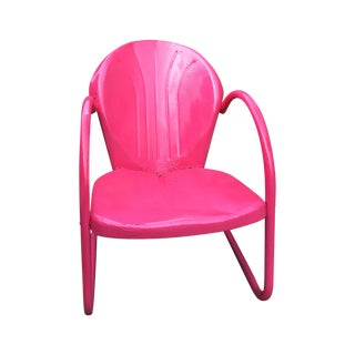 Mid-Century Pink Metal Patio Chair