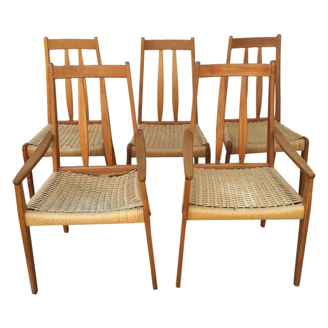 Danish Teak Dining Chairs W/Rope Seats - Set of 5 - Image 1 of 9