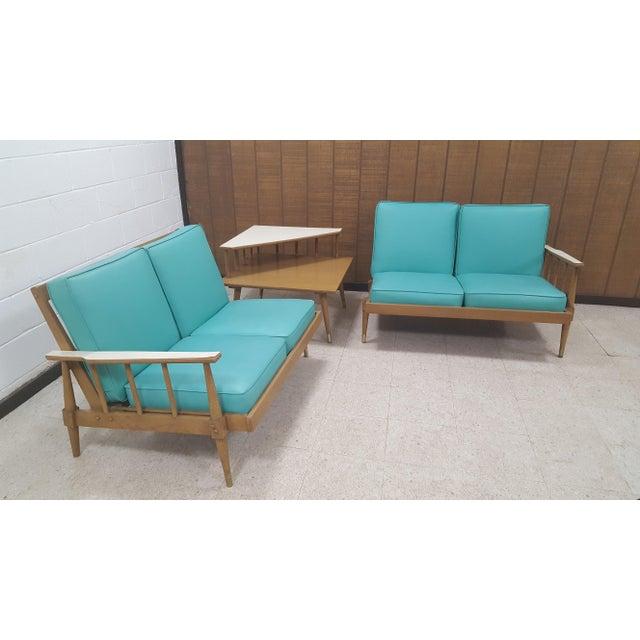 Mid-Century Turquoise Sofa & Table Set - Image 9 of 10