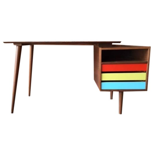 Mid-Century-Style Color Block Desk - Image 1 of 5