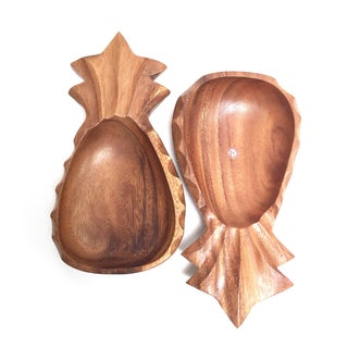 Vintage Wooden Pineapple Bowls - A Pair