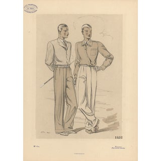 1933 Men's Fashion for Golf Lithograph