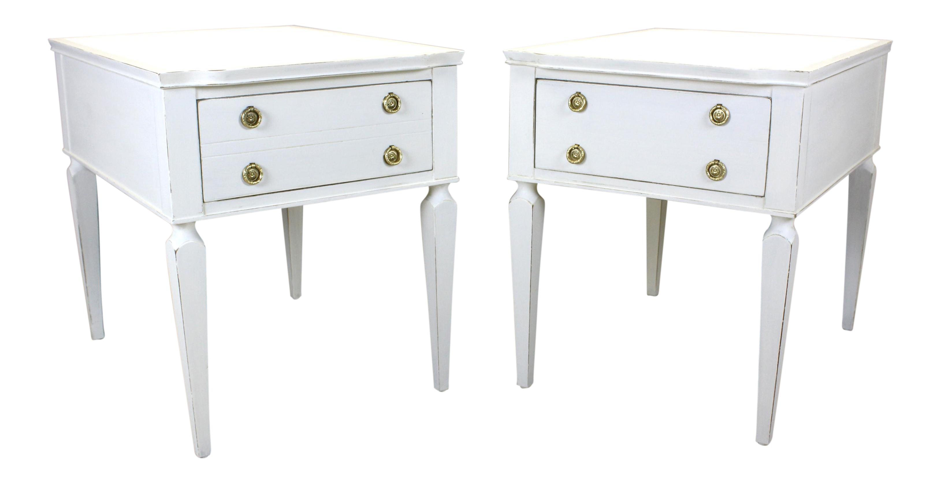 pair of mid century nightstands henredon nightstands white nightstands