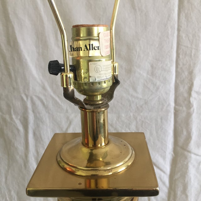 Ethan Allen Brass Column Table Lamps - A Pair - Image 5 of 8