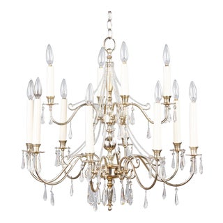 French Mid-Century Silver Plated Chandelier with Crystals
