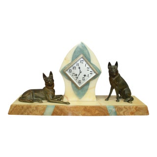 Beautiful French Art Deco Clock Two Bronze Dog Sculpture, circa 1940s