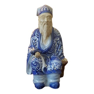 Chinese Blue & White Nobleman Figurine