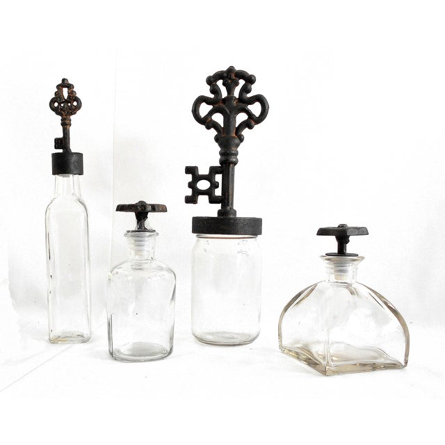 Industrial Rustic Finial Glass Bottles - Set of 4 - Image 2 of 7