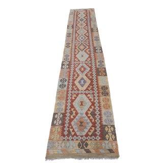 Afghani Vegetable Dye Handmade Kilim Rug- 2′4″ × 12′9″