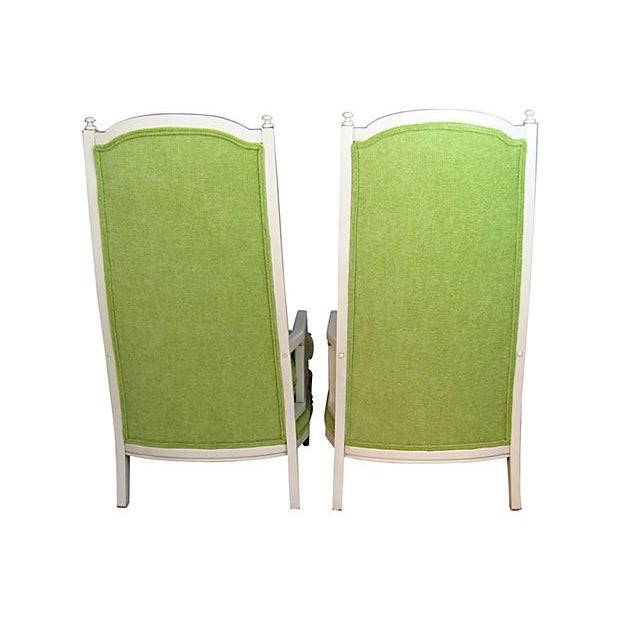Green High Back Tufted Broyhill Chairs - A Pair - Image 3 of 4