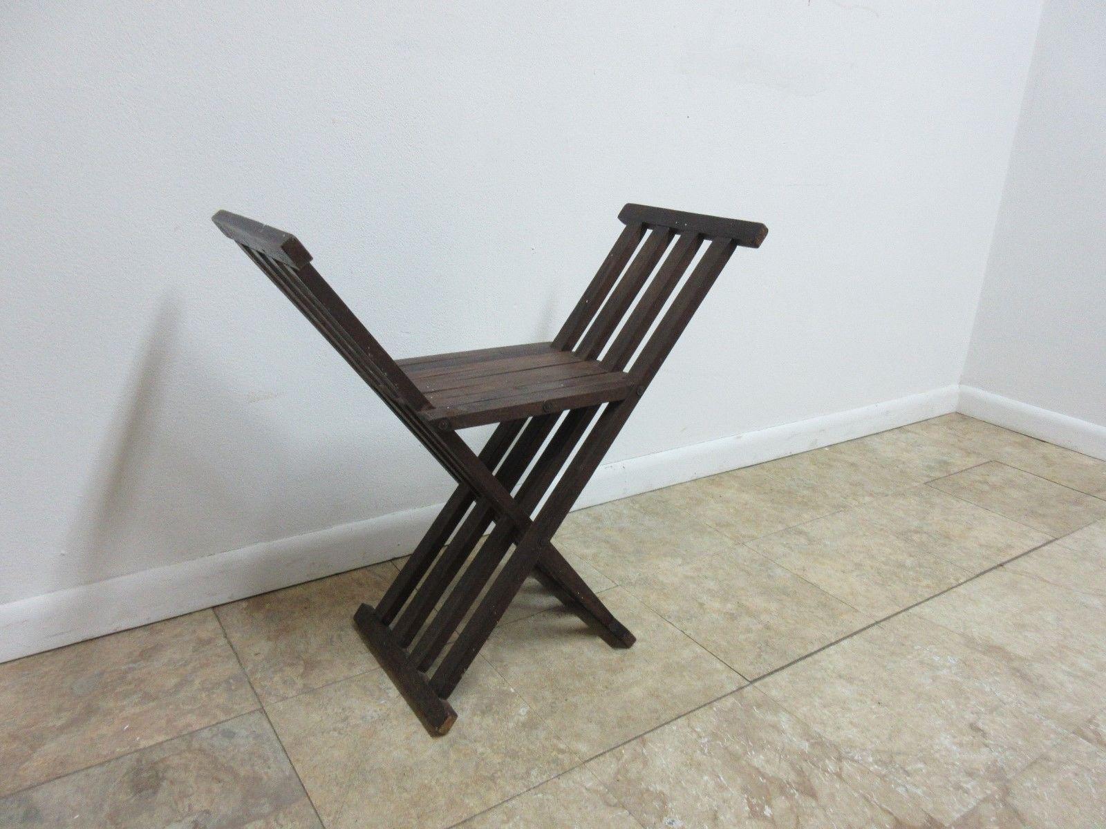 Vintage Campaign X Base Folding Desk Chair Stool End Table