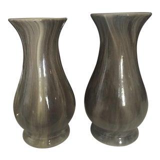Set of 2 Marbelized Gray Vases