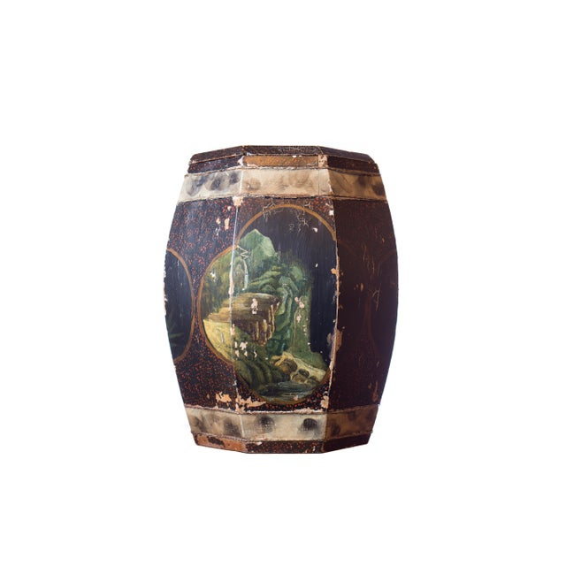 Vintage Chinese Hand Painted Wood Rice Bucket - Image 1 of 6