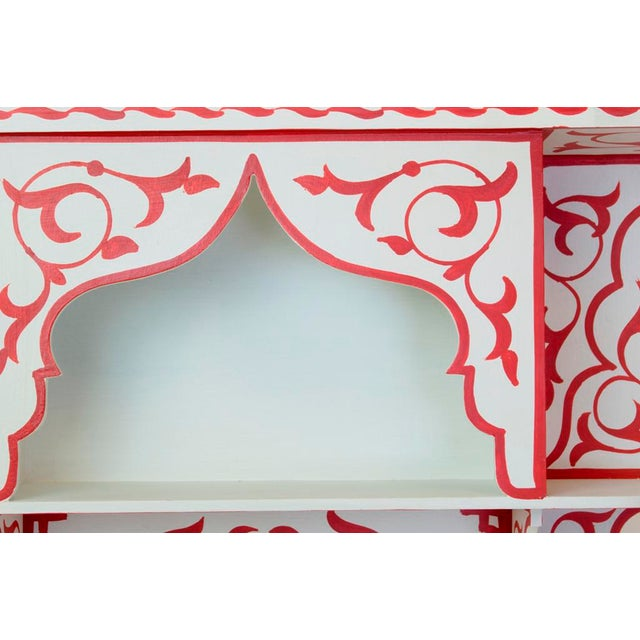 Red & White Moroccan Wall Shelf - Image 2 of 3
