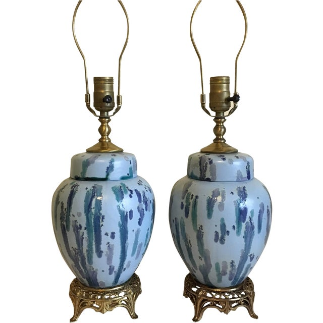 Image of Mid-Century Drip Glaze & Brass Lamps - A Pair