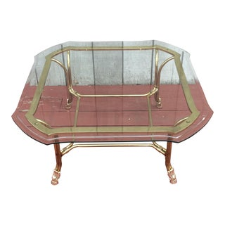 Hollywood Regency Brass Hoof Feet Coffee Table