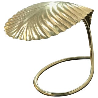 Italian Mid-Century Modern Tommaso Barbi Brass Leaf Decorative Table Lamp