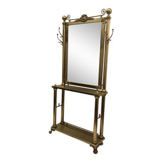 Neoclassical Brass Hall Tree Mirror, Coat Hanger and Console Table