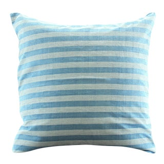 Light Blue Lurik Woven Striped Pillow