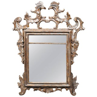 Italian Early 19th Century Carved Wood Rococo Style Mirror with Silver Finish