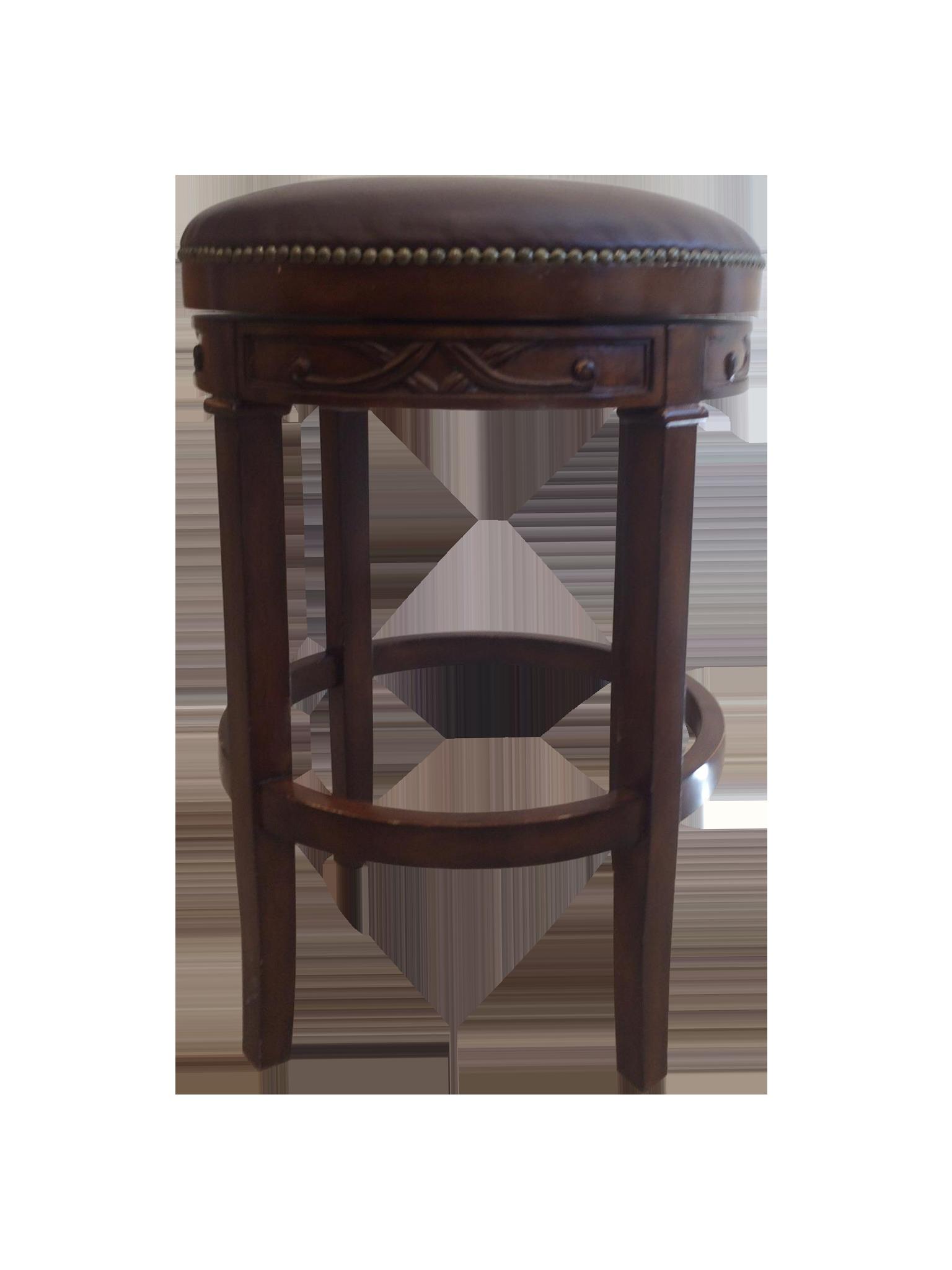 Swivel Leather Amp Wood Bar Stools Set Of 4 Chairish