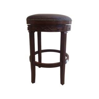 Swivel Leather & Wood Bar Stools - Set of 4