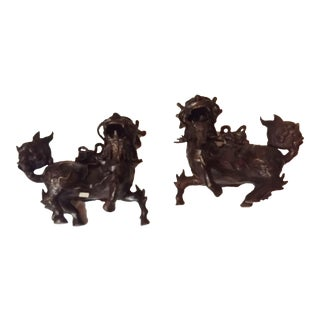 19th Century Asian Bronze Protection Dragons - 2 Avail Mirror Image