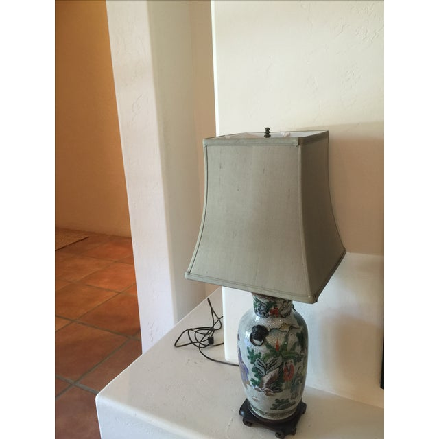 Vintage Asian Table Lamp With Wooden Base - Image 11 of 11