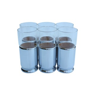 Chrome Sleeved Glass Tumblers - Set of 6