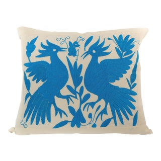 Handmade Long Stitch Embroidered Blue Birds Pillow