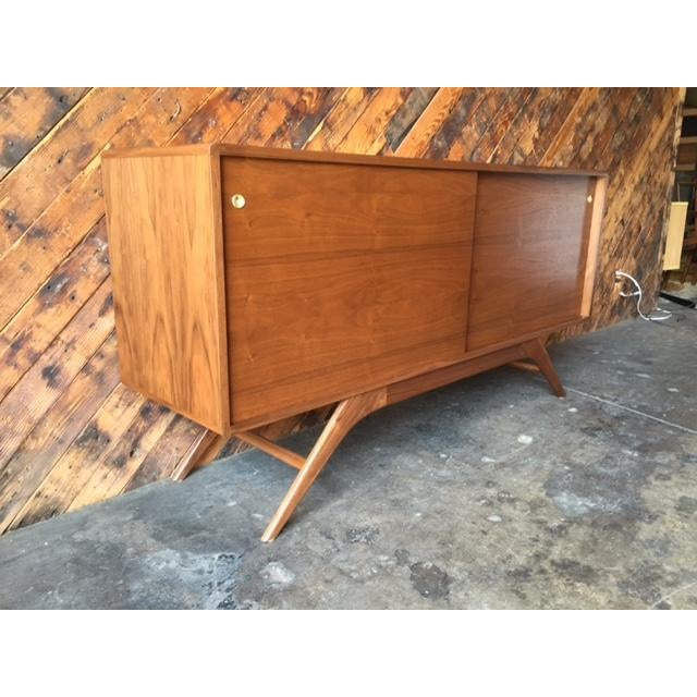 Mid Century Style Custom Walnut Sculpted Base Credenza - Image 7 of 9