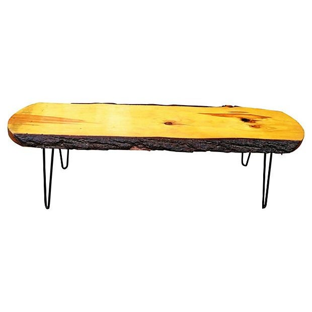 60 39 s slab wood coffee table chairish for 60s coffee table