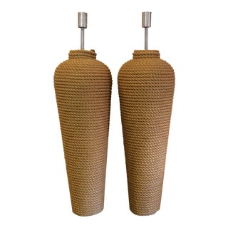 Massive Fusion Specialties Rope Wrapped Floor Lamps - a Pair