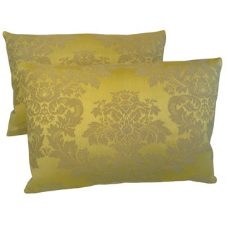 Italian Yellow Silk Damask Pillows - A Pair