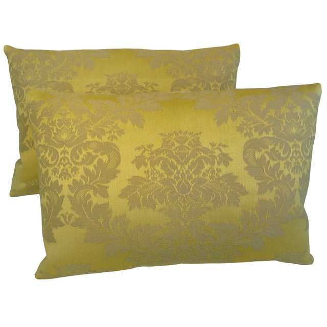 Yellow Silk Decorative Pillows : Italian Yellow Silk Damask Pillows - A Pair Chairish