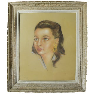 Vintage Framed French Woman Sketch by J.Sanglaz