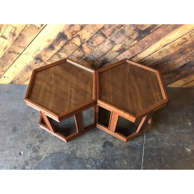 Mid-Century Brown Saltman Side Tables - A Pair - Image 5 of 5