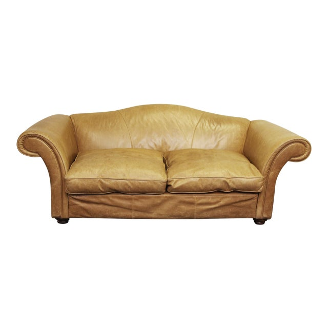 Large Vintage French Camelback Leather Couch - Image 1 of 9