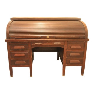 Mahogany American Rishel Antique Roll Top Desk