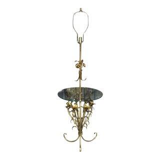 Mid Century Modern Gold Gild Metal Leaf Table Floor Lamp