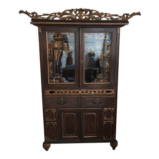 Antique Chinoiserie Handcarved Sanctuary with Key
