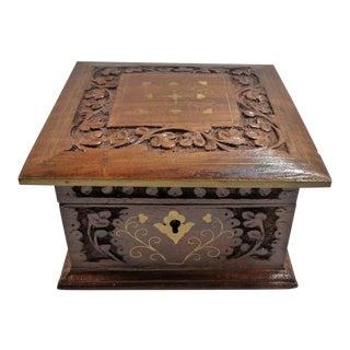 Vintage Square Carved Wood Box