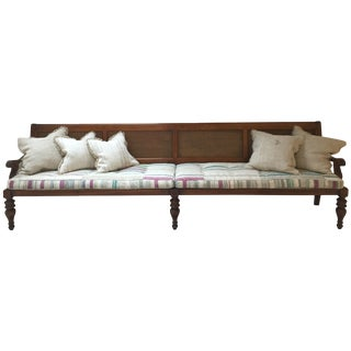 Ralph Lauren Wood and Cane Bench W/ Coushions