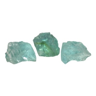 Aqua Slag Glass Sculptures - Set of 3