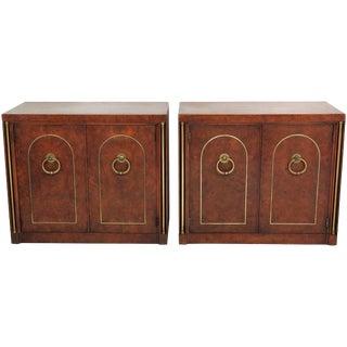 Mastercraft Style Burl Walnut & Brass Cabinets- A Pair