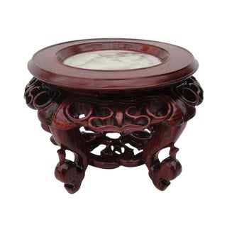 Chinese Hand Carved Hua Li Rosewood & Marble Display Stand
